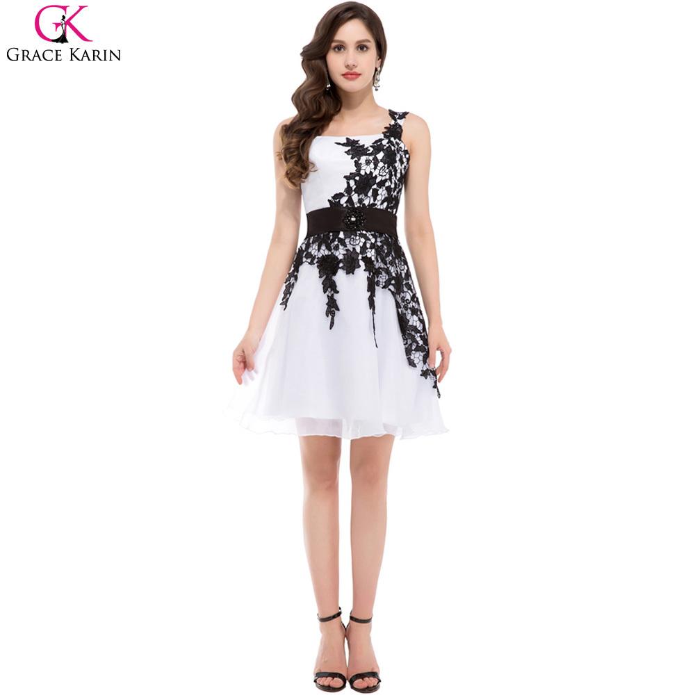 organza grace karin one shoulder knee length special occasion black and white formal dresses. Black Bedroom Furniture Sets. Home Design Ideas