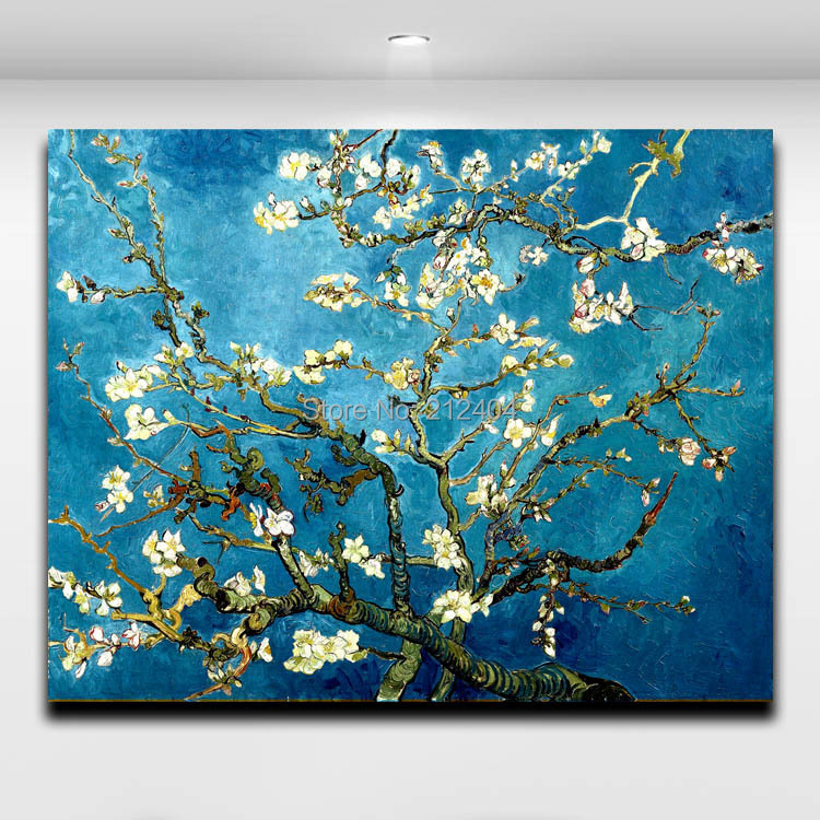 Van Gogh Blossoming Almond Tree Famous Wall Art Oil Painting Home Decor Canvas Free Shipping(Hong Kong)