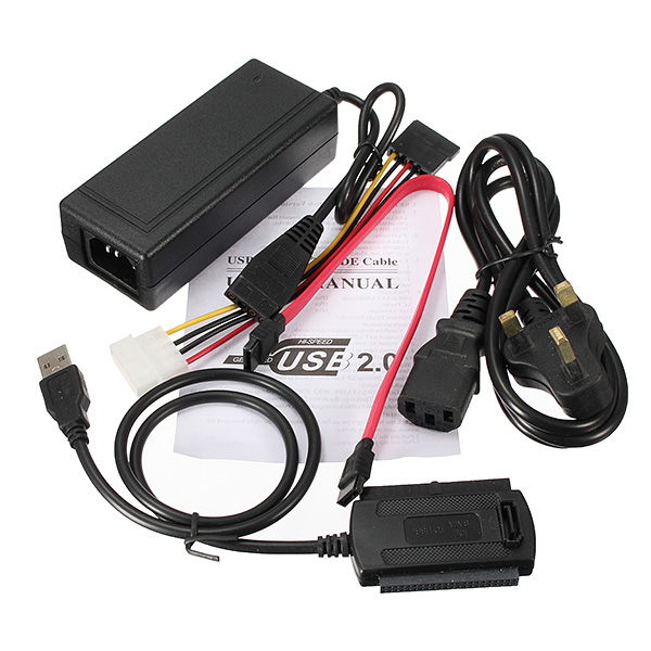 Brand New Set New USB 2.0 To SATA / IDE Hard Drive Cable For HDD Converter Adapter W Power Lowest Price(China (Mainland))