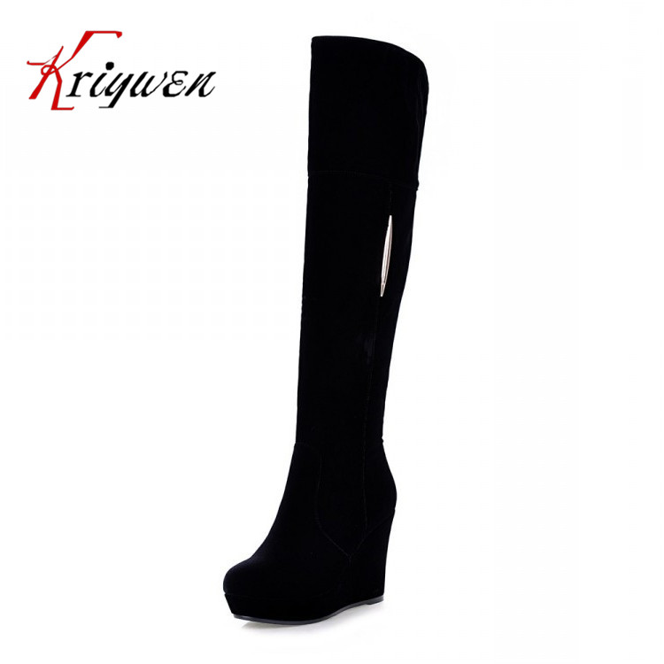 Factory Discount 2015 sexy winter wedges flock knee high boots for women snow zip shoes high heels platform concise women boots(China (Mainland))