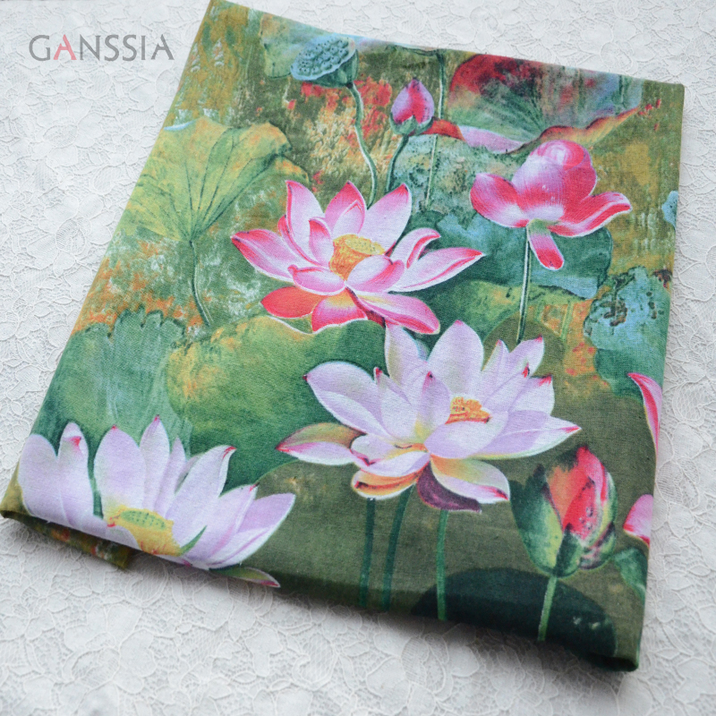 Good quality water lily printed fabric for decoration Green cloth for backdrop Garment accessories(ss-6906)(China (Mainland))
