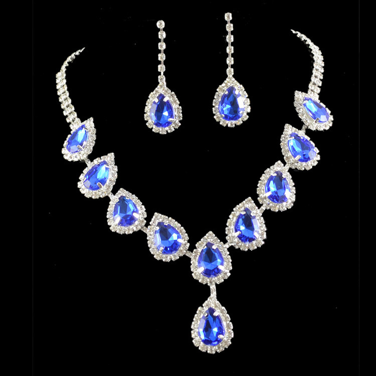 Bridal wedding bridesmaid royal blue crystal earrings necklace jewelry sets