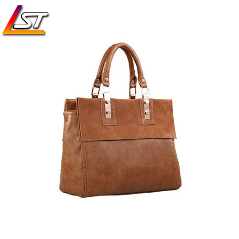 2015 Popular Retro Original Cattle Leather Bags Brown Black Multifunctional Bags For Women Trunk Hand Bag
