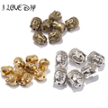 20Pcs New Tibetan Silver Gold Buddha s Head Loose Beads For Jewelery DIY Charms 10x8mm yiwu