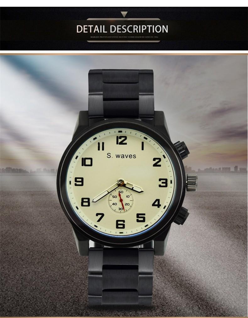 Известный Бренд S.wav es Часы Повседневная Мода Армия Таблица Кварцевые Часы Американских мужская Волк Из Нержавеющей стали Наручные Часы Relogio