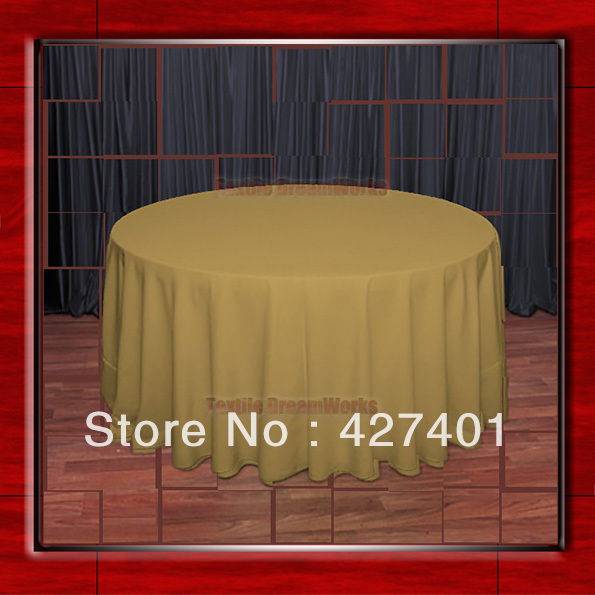 "Hot Sale 132"" R Copper Round Table Cloth Polyester Plain Table Cover for Wedding Events &Party Decoration(Supplier)(China (Mainland))"