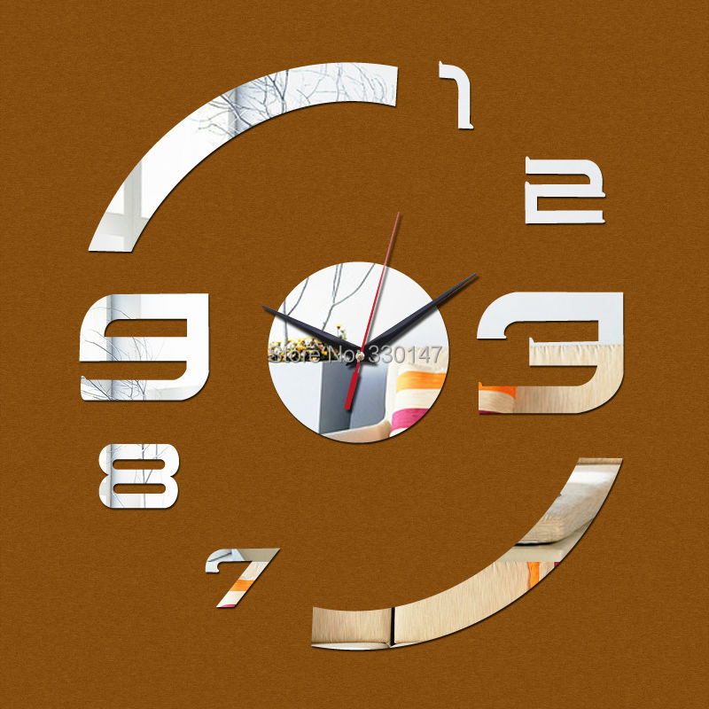 Acrylic Mirror Wall Clock Art Figure Numbers With Self-adhesive Glue Backing Mirror Stickers DIY Home Decoration 40x40cm(China (Mainland))