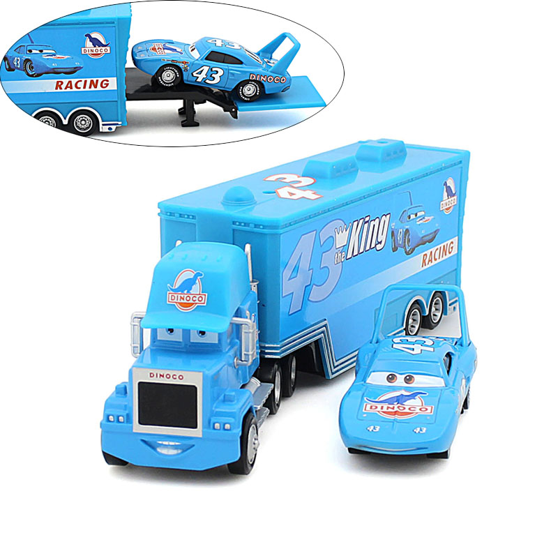 2 pcs / lot Pixar Cars 2 100% original car toys alloy and plastic Mack truck and the king band Weathers set blue toy car(China (Mainland))