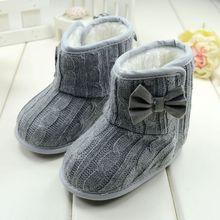 Baby Girl Boy Snow Boots Knit Bowknot Faux Fleece Soft Sole Kids Woolen Yam Knit Fur 3-18 Months(China (Mainland))
