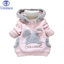 Retail Children Clothing Cartoon Rabbit Fleece Outerwear girl fashion clothes/ hooded jacket/ Winter Coat for 2-7y baby 2 colors(China (Mainland))