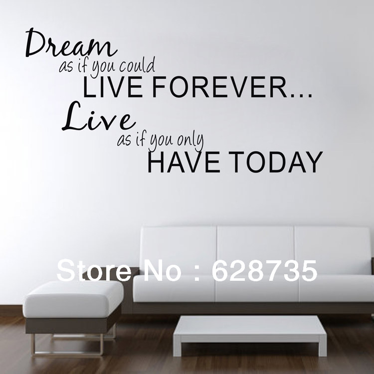 large size ebay hot free shipping inspirational quotes & sayings Dream As If You Could Live Forever vinyl wall decal stickers(China (Mainland))