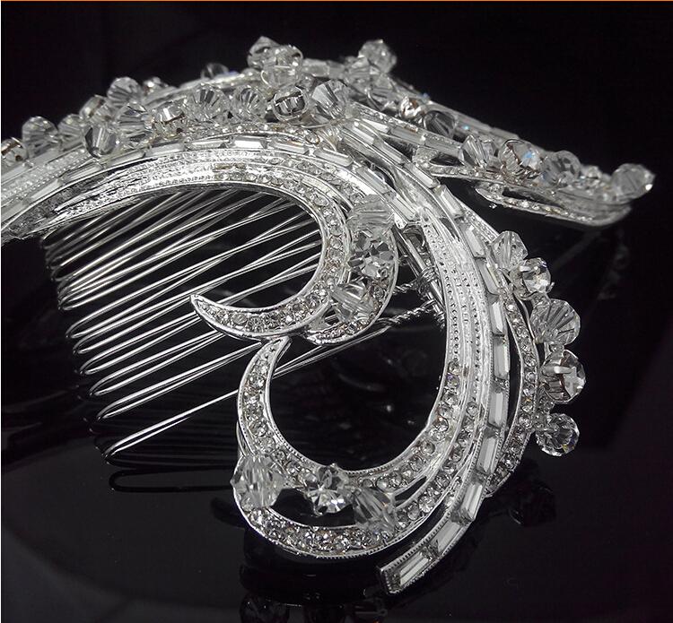 Мода люкс тиара кристалл стразами заколки горный хрусталь цветок гребни для женщин свадебные аксессуары для головные уборы