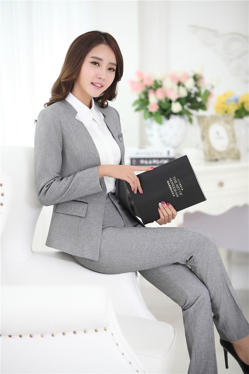 20634cbfb 2019 Wholesale Novelty Grey Formal Pantsuits Uniform Design ...
