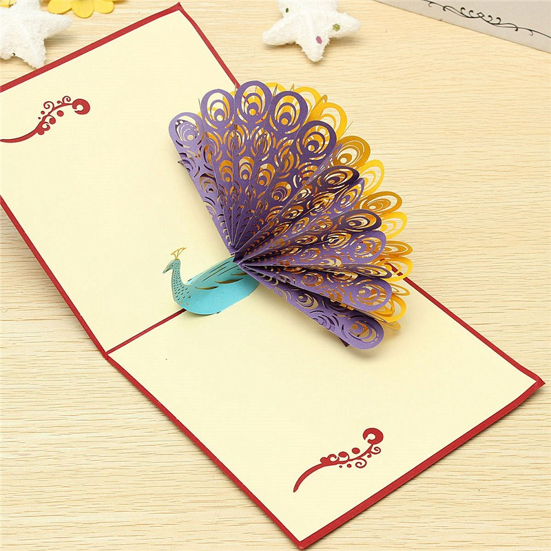 Good gift Fashion Design 3D Animals Peacock Pop up Card Birthday child Greeting Handmade Paper Art Carving(China (Mainland))