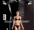 Chrome Bathroom Thermostatic Valve Shower Faucet Celling Mount Shower Head