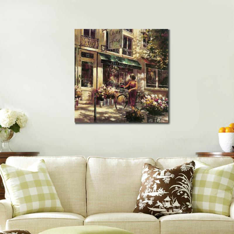Birthday gift Flower Market Street buy Street View canvas painting hd prints(China (Mainland))