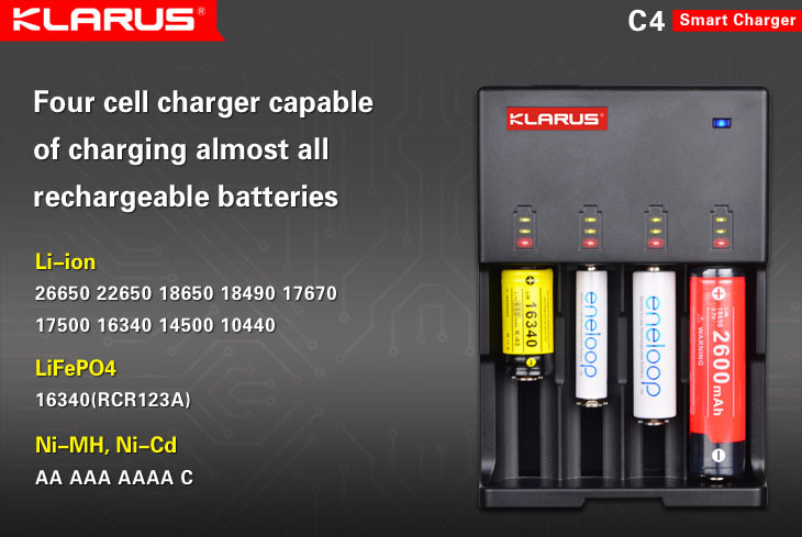 Klarus rechargeable C4 LiFePO4 battery Charger(China (Mainland))