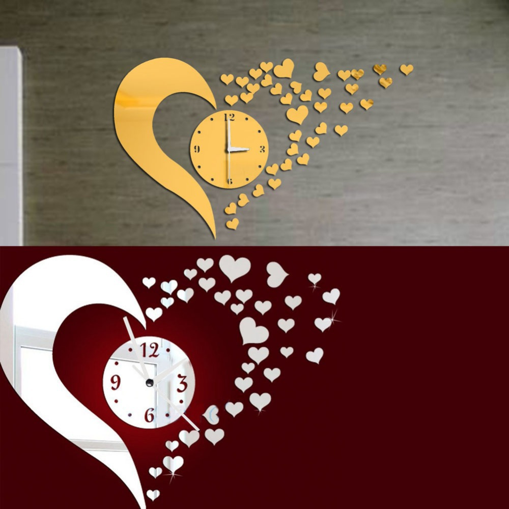 DIY 3D Home Modern Living Room Bedroom Decor Love Mirror Sticker Wall Clock E1Xc(China (Mainland))