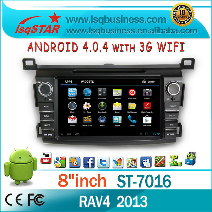 Android 4.0 Radio Navigation Toyota Rav4 2013 with GPS DVD Radio BT PIP AUX IPOD SWC P.book 3D UI Android 4.0 System 3G WIFI(China (Mainland))