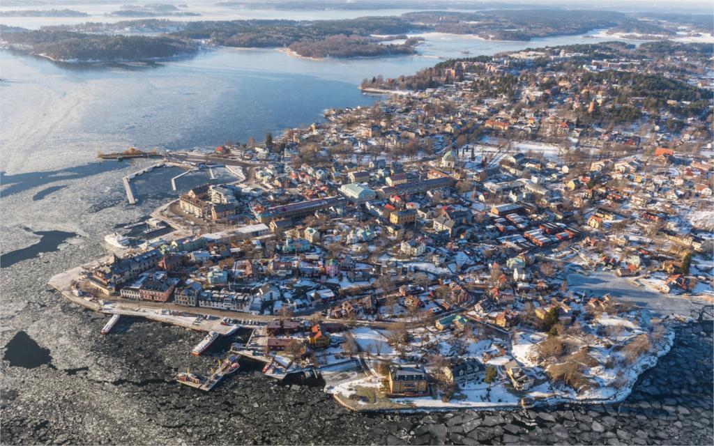 Building Sweden Winter Vaxholm From above Cities 4 Sizes Home Decoration Canvas Poster Print(China (Mainland))