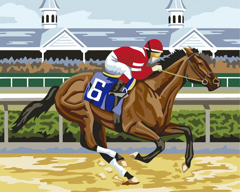 Frameless DIY picture on WALL acrylic oil painting by number drawing by numbers unique gift paint by numbers horse racing 40x50(China (Mainland))