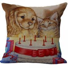 Cute Cat Dog Printed Linen Throw Pillow Case Cushion Cover
