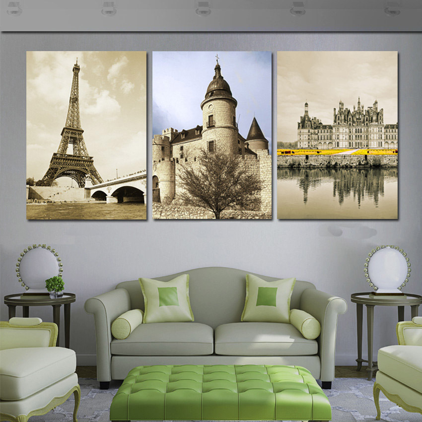 Modern Art Painting Abstract Landscape Building Famous Europe Old Castle Pictures Print On Canvas Paris Eiffel Tower Gray Art(China (Mainland))