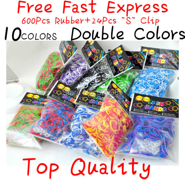 Fun loom kit double colors glitter rubber bands,tie dye glitter rubber bands, colorful diy loom bands,( 600 bands+24 s Clip) <br><br>Aliexpress
