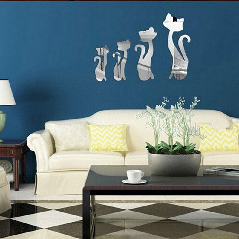 Home Decor Silver Special Design 4Pcs/set Cute Mirror Cat Removable Decal Vinyl Art Wall Sticker#81644