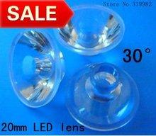 Buy 300pcs/lot, Led lens 20mm 30 degree, high power 1W 3W led lens, LED PMMA DIY spot lamp lens, flat transparent lens, free ship for $30.00 in AliExpress store
