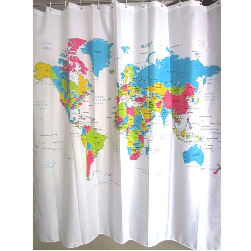New Creative Stylish World Map Bath Shower Curtain With White Plastic ...