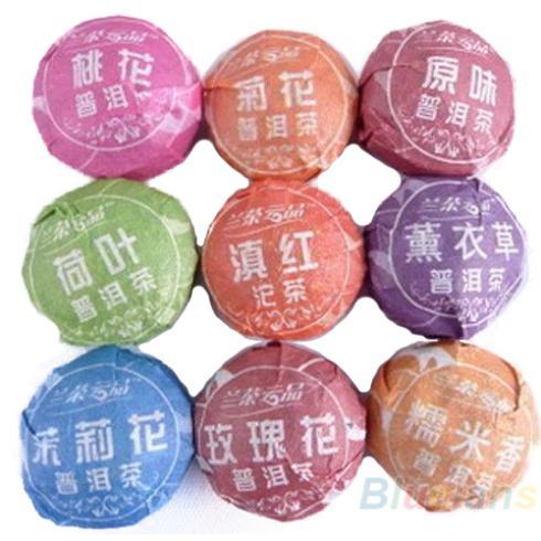 9pcs Different puerh tea Pu er Slimming Puer Ripe Raw 0289 4A4F