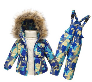 Children Winter Clothing set Boys Ski Suit Girl Down Jacket Coat + Jumpsuit Set 1-6 Years Kids Clothes For Baby Boy/Baby Girl(China (Mainland))