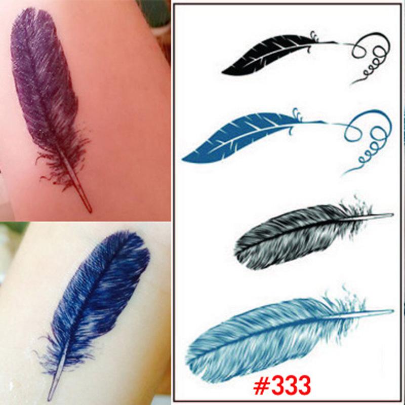1x Glitter Feathers Tattoo Sticker Tatoo Lust Art Temporary Tattoo Paper Water Color Tattoos Feather Design Stickers WTA0333(China (Mainland))