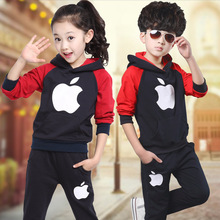 2016 Spring Kids Clothes Set British Style Costume For Teenage Boys And Girls Children Hooded Clothing T-Shirt+Pants 3-13Y D35