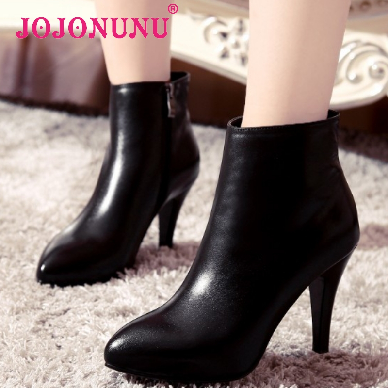 women real genuine leather high heels ankle boots sexy half short botas autumn winter boot heels footwear shoes R7472 size 33-40<br><br>Aliexpress