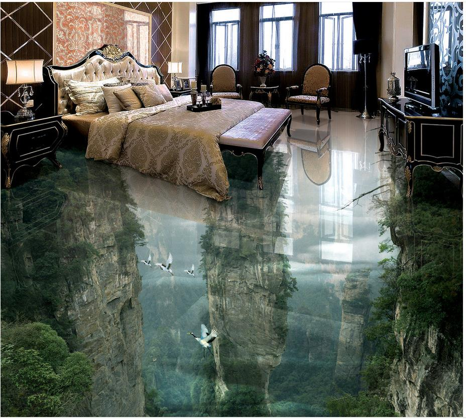 Mountain Waterproof floor mural painting Custom Photo self-adhesive 3D floor Home Decoration 3d floor tiles(China (Mainland))