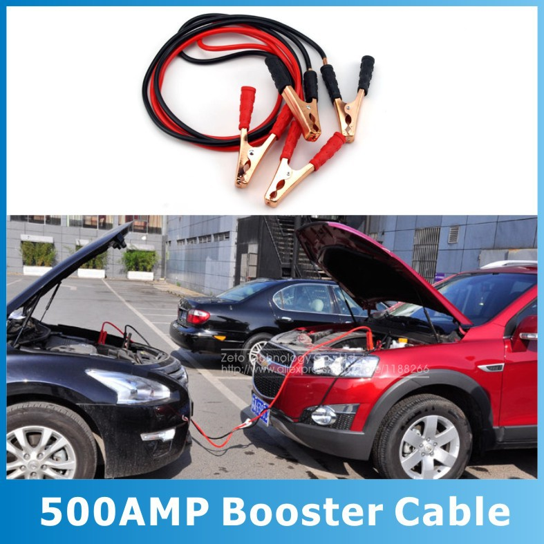 2015 New Emergency Battery Cables Car Auto Booster Cable Jumper Wire 2 Meters Length Booster 12V 500A(China (Mainland))