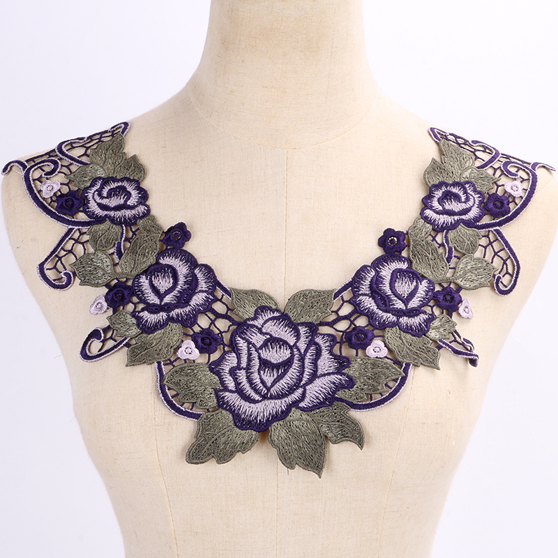 Embroidered Gold Metallic Polyester Blue Flower Lace Neckline Collar Patches Sew on Applique free shipping(China (Mainland))