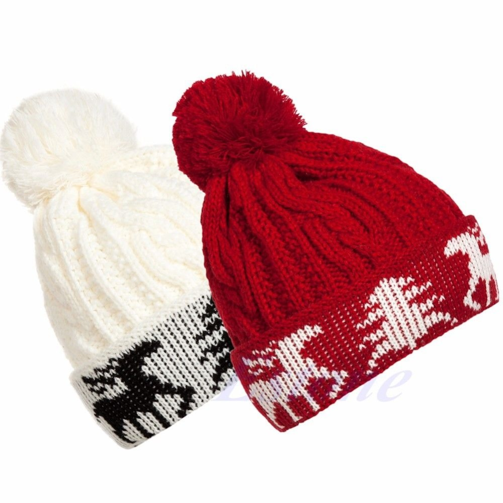 2015 Hot New Women Winter Warm Ball Cap Christmas Tree Deer Knitting Crochet Beanie Hat(China (Mainland))