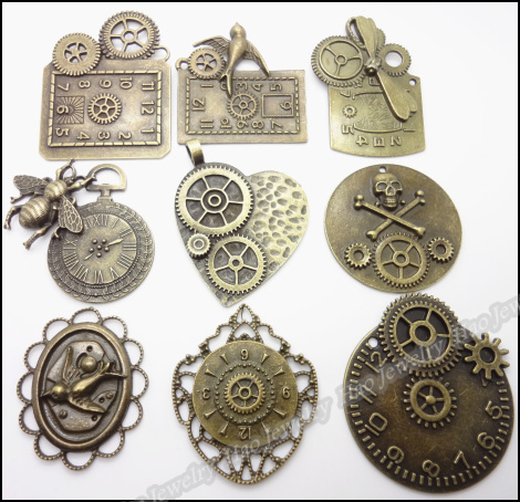 Mix 18pcs Steampunk clock DIY Accessories