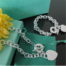 100% Famous Brand New Logo 925 Sterling Silver sets Necklace&Bracelet, Jewelry Silver Sets For Women+original box CC04(China (Mainland))