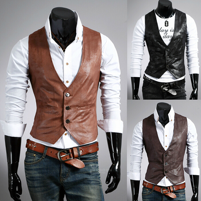2014 New Arrival Man Slim Fit V-neck Leather Vest Fashion Suit Vest Simple Business Vest Free ShippingОдежда и ак�е��уары<br><br><br>Aliexpress
