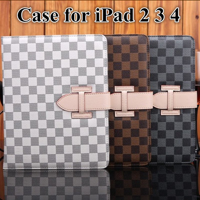 "Luxury Plaid PU Leather Case for iPad Air/Air 2 Smart Flip Stand Cover Tablet Case 9.7"" for iPad 2 3 4 with Buckle Wrist Strap(China (Mainland))"