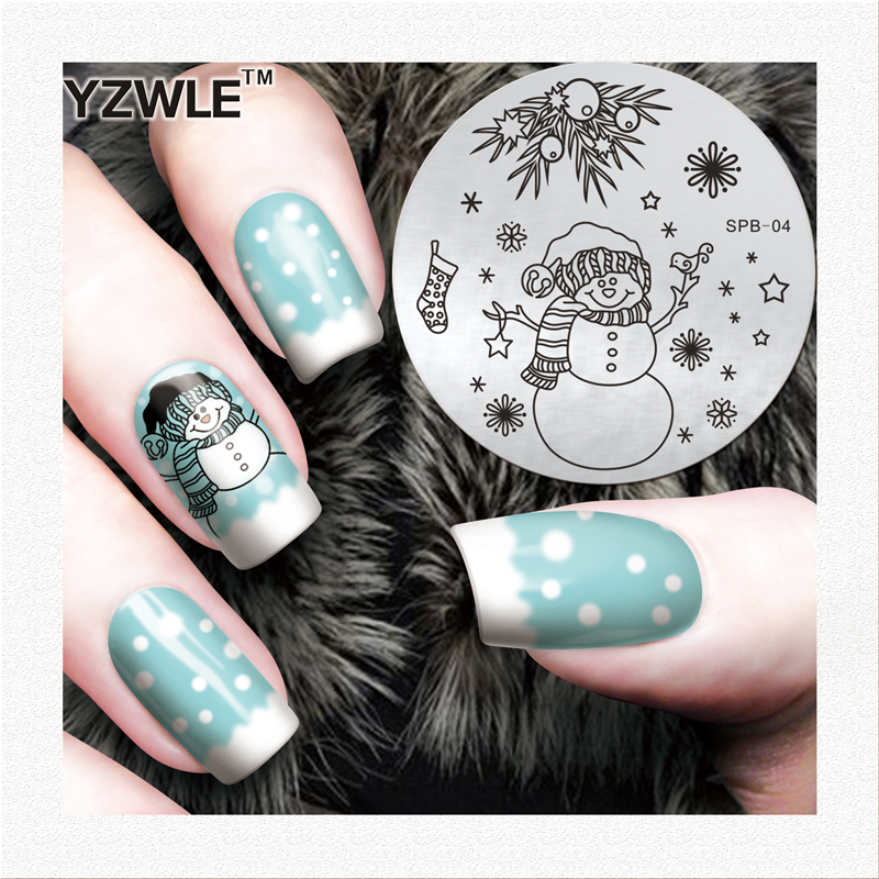 YZWLE Flower Christmas Vintage Pattern Stamping Nail Art Image Plate 5.6cm Stainless Steel Template Polish Manicure Stencil Tool(China (Mainland))