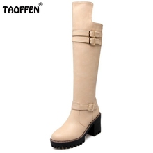 Buy New Concise Style Women Botas Knee High Knight Boots Woman Platform Round Toe Thick Heels Shoes Heeled Footwear Size 34-43 for $31.68 in AliExpress store