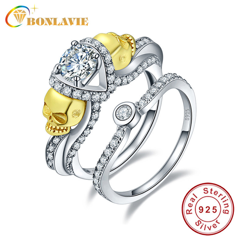 White Cubic Zirconia Charms Ring Skull Wedding Engagement Silver Rings Set for Women with Gold Skull Head Size 6-9 Fit European(China (Mainland))