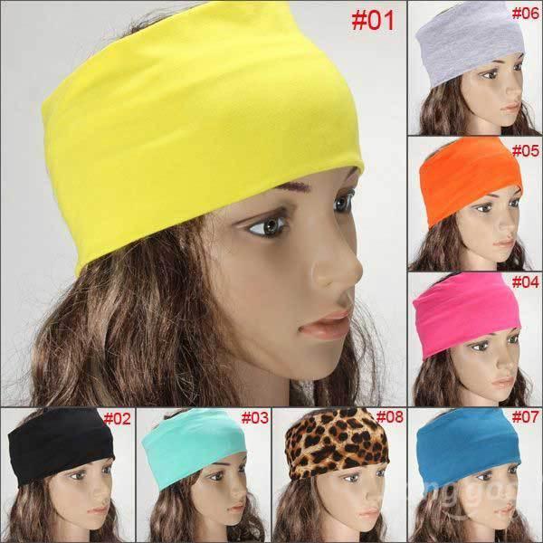 Hammonton Women Multicolor Elastic Hair Bands Turban Stretch Wide Yoga Headband(China (Mainland))