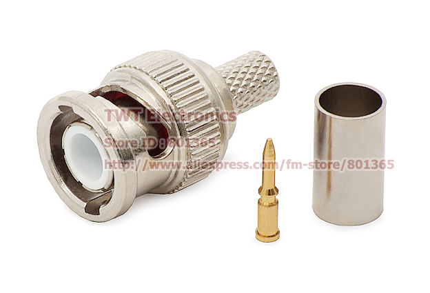 BNC male crimp plug for RG59 coaxial cable, BNC Connector BNC male 3-piece crimp connector plugs 100set =300pcs Free shipping