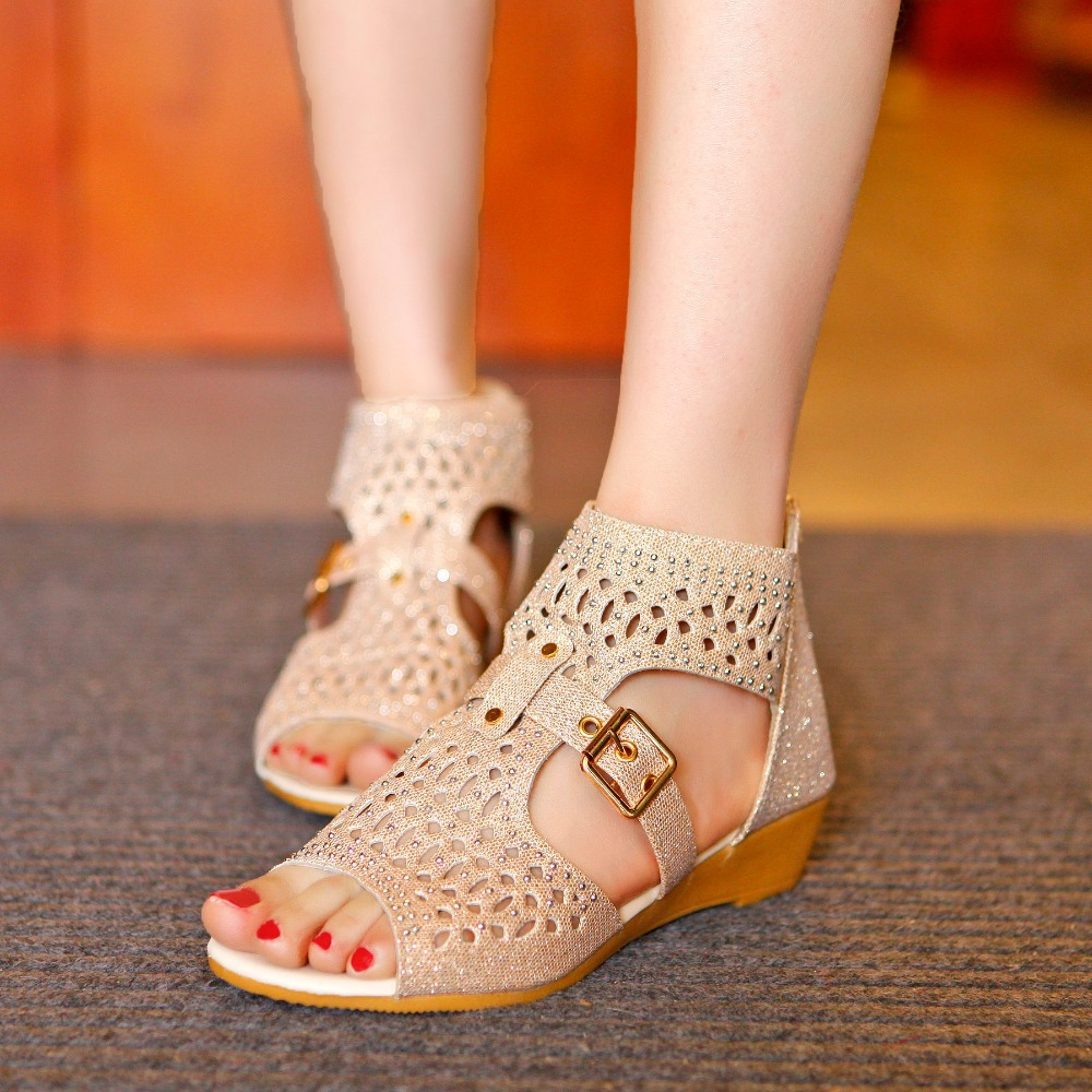 Big size 34-39 new 2015 Rhinestone gladiator sandals women,fashion cut-outs wedges women sandal summer shoes woman - Forrest Wang's store